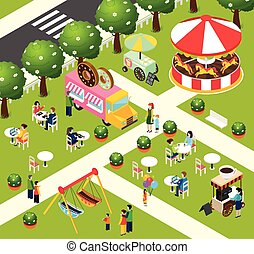 Street Food Truck Isometric Composition Poster