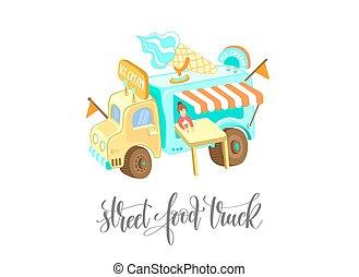 street food truck with ice cream