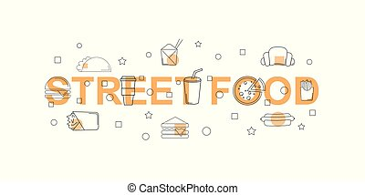 Street food vector banner. Word with line icon.