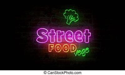Street food vege neon on brick wall