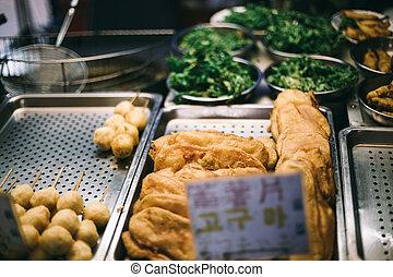 Street fried food in Taiwan traditional market