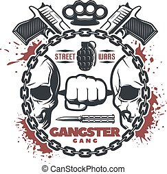 Street Gang Wars Print - Isolated round composition with...