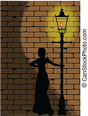 Street Girl - A typical old London gaslight set against a...
