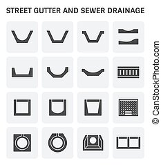 street gutter icon - Vector icon of street gutter or road...