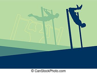 Street gymnastics horizontal bar workout man training vector...