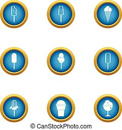 Street ice cream icons set, flat style