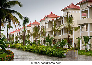 Street in a Dominican republic hotel with beige houses