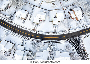street in a residential area after heavy snowstorm