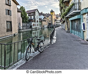Street in Annecy old city, France, HDR