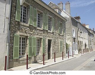 Street in Burgundy town - Street in Nuits Saint Georges in...