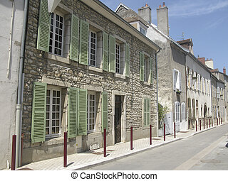 Street in Burgundy town - Street in Nuits Saint Georges in...