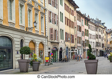 Street with historical houses in Chambery city center, France