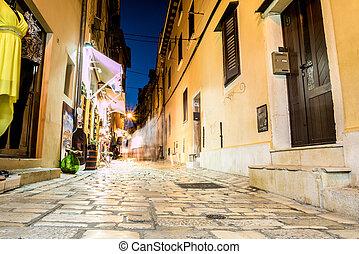 Street in charming Rovinj, Croatia