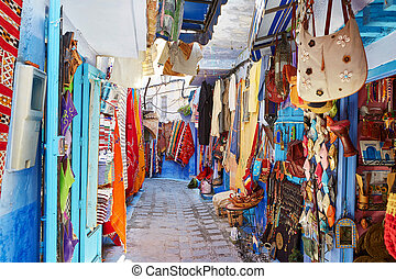 Street market in Chefchaouen, Morocco, small town in northwest Morocco known for its blue buildings