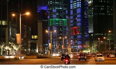 Street in Doha at night