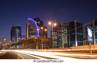 Street in Doha downtown at night, Qatar. Photo taken at 9th January 2012