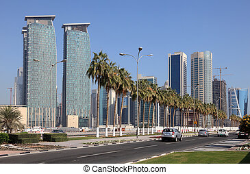 Street in Doha Downtown, Qatar, Middle East