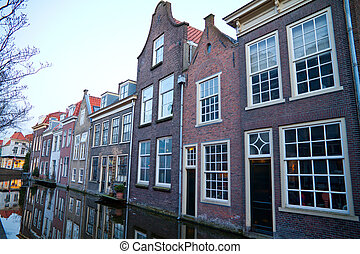 Street in historic Delft, Holland