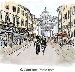 street in Italy - Artistic watercolor sketch of street in...