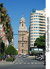 Street in Malaga - Street and the cathedral of Malaga, Spain