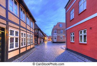 Street in medieval city of Ribe, Denmark - HDR