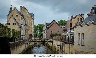 Street in medieval town of Valkenburg, The Netherlands