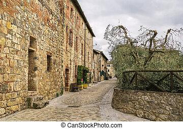 street in Monteriggioni, Italy