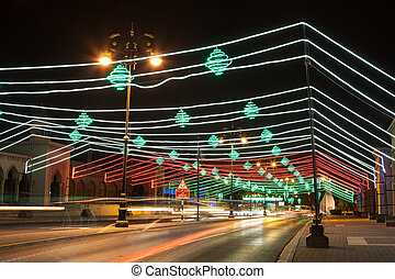 Street in Muscat decorated with lights. Oman, Middle East
