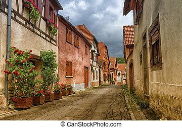 Street in Obernai city, France