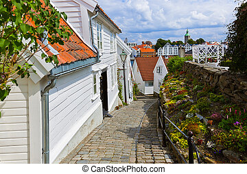 Street in old centre of Stavanger - Norway - Street with...