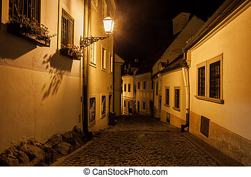Street in Old Town of Bratislava at Night