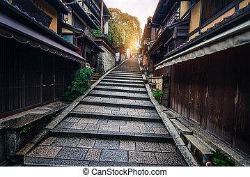 Street in old town of Higashiyama, Kyoto, Japan