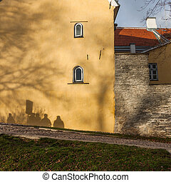 Tourists shadows on the wall