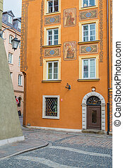Street in Old Town of Warsaw, Poland