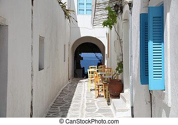 Street and terrace on Paros island (Greece)