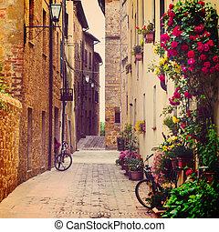 street in Pienza, Tuscany, Italy