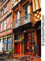 Street in Rennes - Old medieval half-timbered houses in...