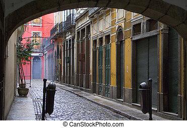 Street in Rio de Janeiro - empty street ion a rainy day n...