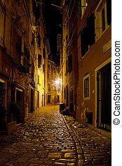 Street in Rovinj - old narrow street at night in Rovinj