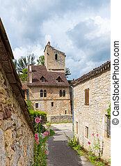 Street in Saint Cirq Lapopie in France