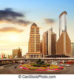 street in shanghai - Streets of Shanghai Lujiazui financial...