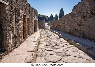 Street in the ancient city of Pompeii, Italy