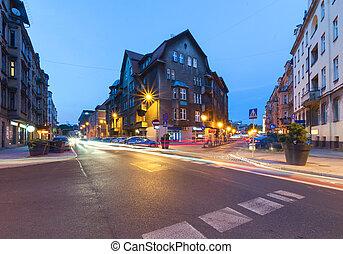 Street in the center of Katowice, Poland. Europe.