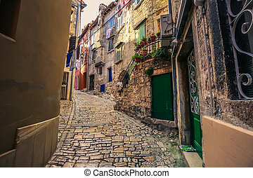 Street in the center of the old town of Rovinj, Croatia