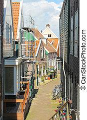 Street in the Dutch town of Volendam. Netherlands