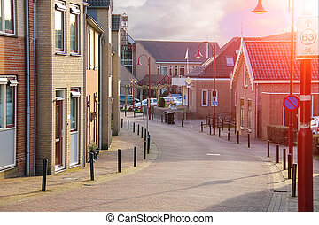 Street in the Dutch town on a sunny day