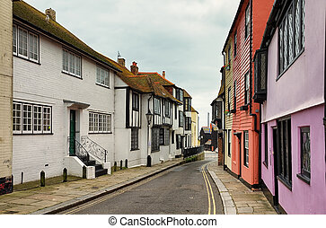 Street in the old town, Hastings - A winding street in the...