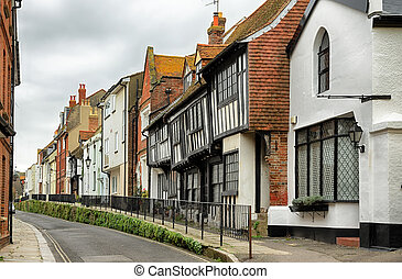 Street in the old town, Hastings - A row of historical...