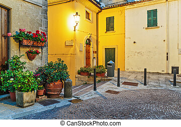 Street in the old town in Italy at night
