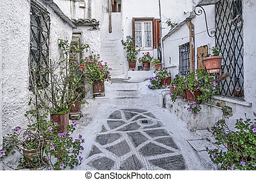 Street in the old town of Athens in Greece. - Street of...